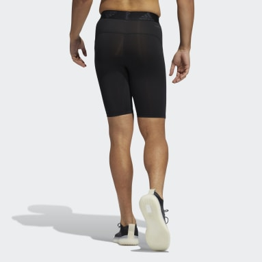 Men Running Black Techfit Short Tights