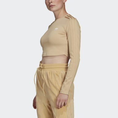 T-shirt LOUNGEWEAR Cropped Long Sleeve Beige Femmes Originals