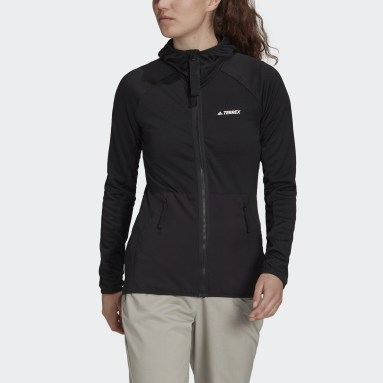 Chaqueta Terrex Tech Fleece Lite Hooded Hiking Negro Mujer TERREX