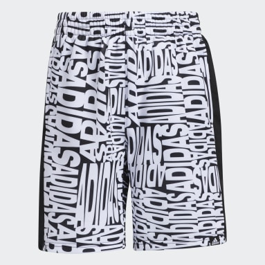 Youth Training White Linear Print Shorts
