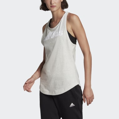 Women Sport Inspired White LOUNGEWEAR Essentials Loose Logo Tank Top