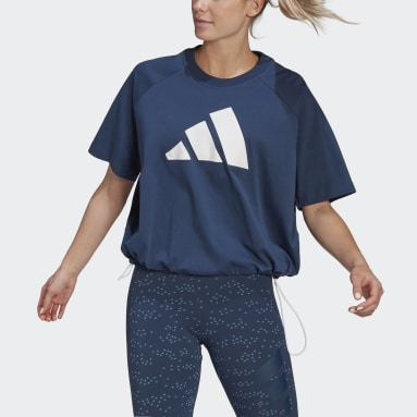 Women Sportswear Blue adidas Sportswear Adjustable Badge of Sport Tee