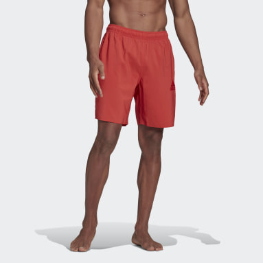 Men Swimming Red Solid Swim Shorts