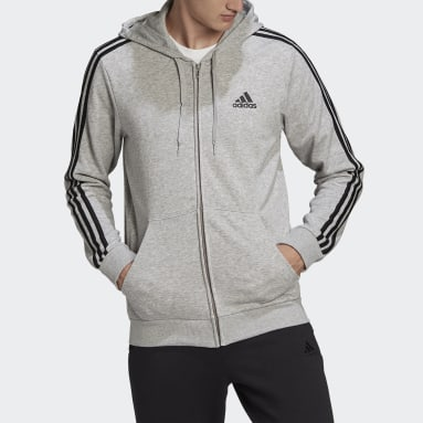 Essentials French Terry 3-Stripes Full-Zip Hoodie Szary