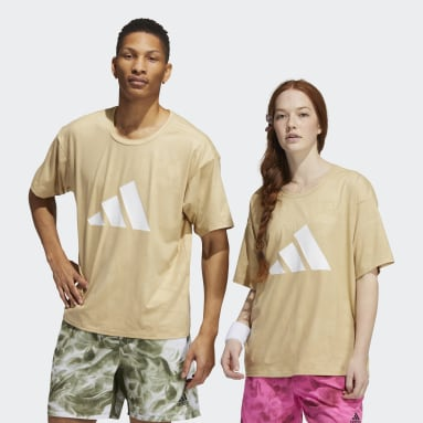 Fitness En Training Beige Unite 3-Stripes Floral T-shirt (Uniseks)