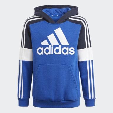 Kids Sport Inspired Blue adidas Essentials Colorblock Hoodie (Gender Neutral)