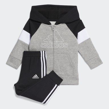 Infant & Toddler Training Grey Pieced Fleece Jacket and Joggers Set