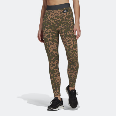 Women's Sportswear Brown adidas Sportswear Leopard-Print Cotton Leggings