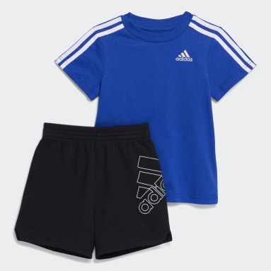 Infant & Toddler Training Blue 3-Stripes French Terry Shorts Set