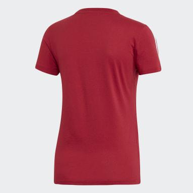 Frauen Sportswear Essentials 3-Streifen T-Shirt Weinrot