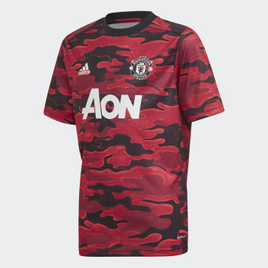 Kids Football Red Manchester United Pre-Match Jersey