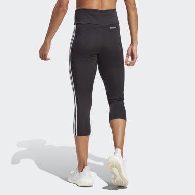 Ženy Cvičení A Trénink černá Legíny Designed To Move High-Rise 3-Stripes 3/4 Sport