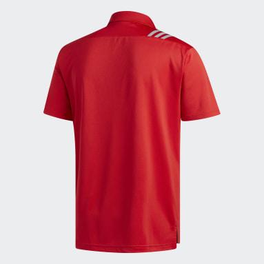 Herr Golf Röd 3-Stripes Polo Shirt