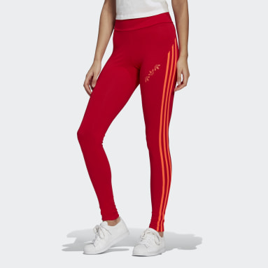 Mallas Adicolor Sliced Trefoil High-Waisted Rojo Mujer Originals