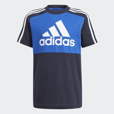 Boys Sport Inspired Blue adidas Essentials Colorblock Tee