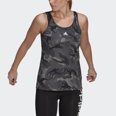 Dames Fitness En Training Grijs AEROREADY Designed 2 Move Camouflage-Print Tanktop