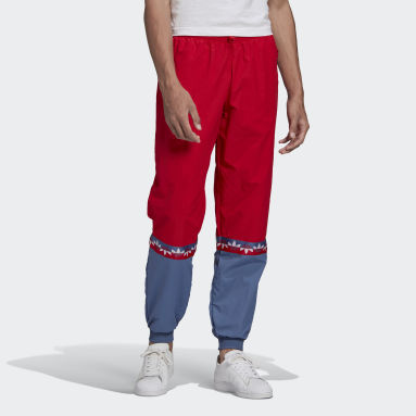 Men Originals Red Adicolor Sliced Trefoil Tracksuit Bottoms