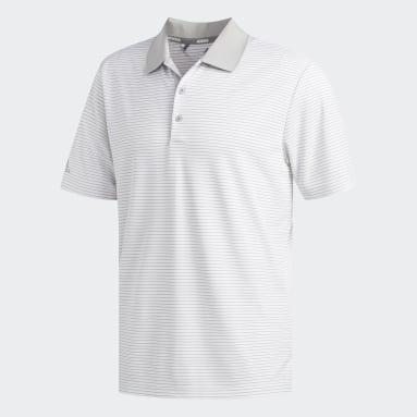 Men Golf White Two-Color Club Stripe Polo Shirt