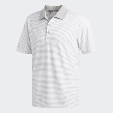 Heren Golf Wit Two-Color Club Stripe Poloshirt