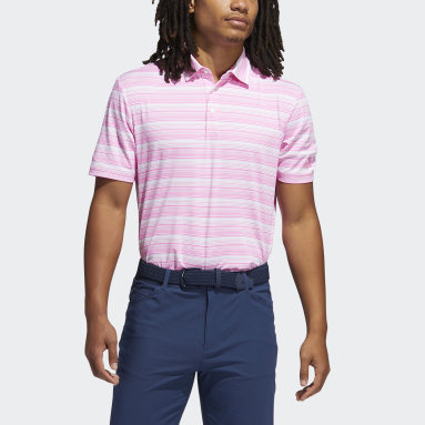 Men Golf Pink Heather Snap Polo Shirt