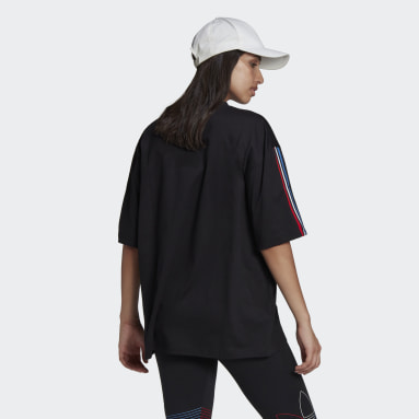 Women Originals Black Adicolor Tricolor Oversize Tee