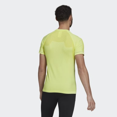 Men Running Yellow Primeknit Tee