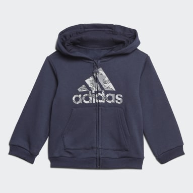 Ensemble Fleece Hooded Jogger Bleu Enfants Fitness Et Training