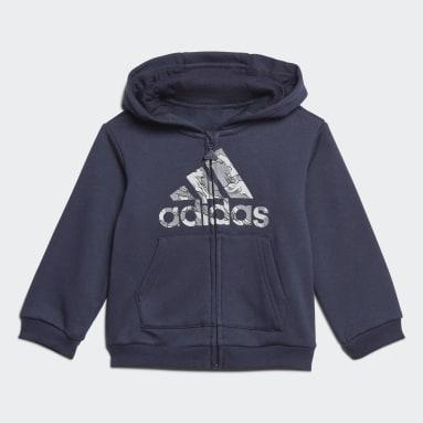 Børn Fitness Og Træning Blå Fleece Hooded joggingdragt