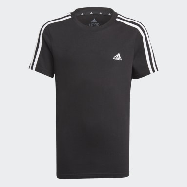 Boys Sport Inspired Black adidas Essentials 3-Stripes Tee