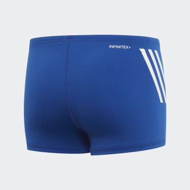 Youth 8-16 Years Swimming Blue Pro 3-Stripes Swim Boxers
