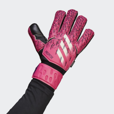 Football Pink Predator Match Fingersave Goalkeeper Gloves