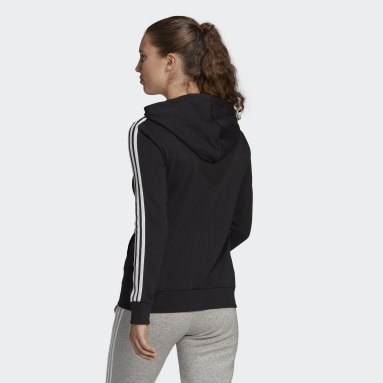 Women Sportswear Black Essentials French Terry 3-Stripes Full-Zip Hoodie