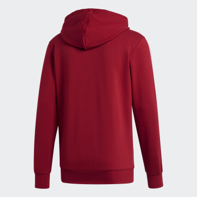 Men's Essentials Burgundy Essentials 3-Stripes Fleece Hoodie