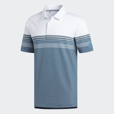 Men Golf White Ultimate365 Gradient Block Stripe Polo Shirt