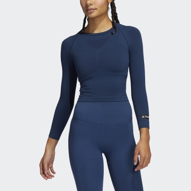 Women Training Blue Formotion Cropped Training Tee