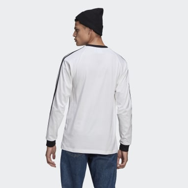 Muži Originals bílá Tričko Adicolor Classics 3-Stripes Long Sleeve