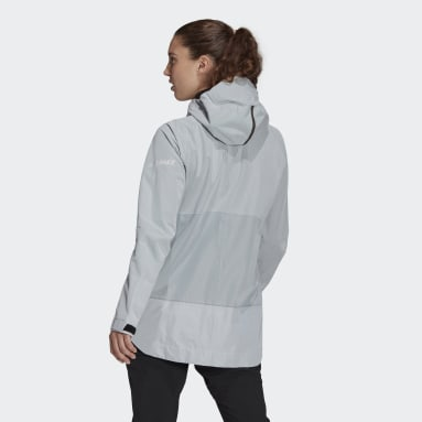 Women TERREX Blue Terrex Primeknit 2.5-Layer Rain Jacket