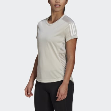 Women Running Beige Own the Run Tee