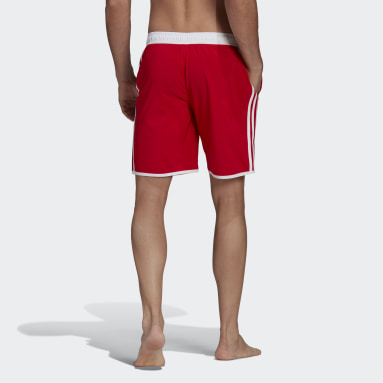 Men's Swim Red Classic-Length 3-Stripes Swim Shorts
