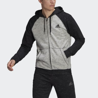 Men Sport Inspired Grey Essentials Mélange Small Logo Hoodie