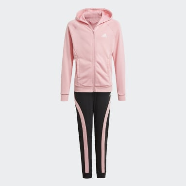 Girls Gym & Training Pink Bold Hooded Track Suit