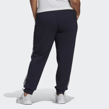 Women's Essentials Blue adidas Essentials French Terry 3-Stripes Pants (Plus Size)