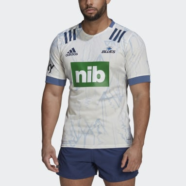 Men Rugby White Blues Rugby Primeblue Alternate Replica Jersey