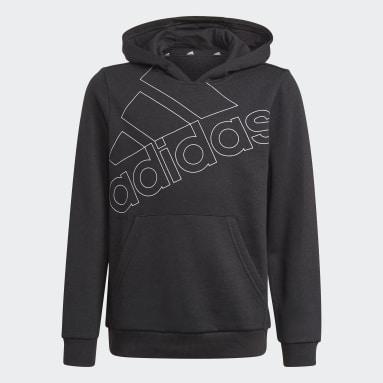 Sweat-shirt à capuche adidas Essentials Logo noir Adolescents Entraînement