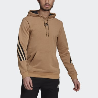 Men's Sportswear Brown adidas Sportswear 3-Stripes Tape Summer Hoodie