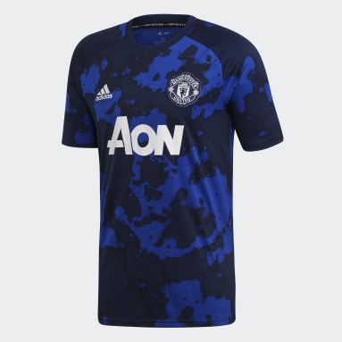 Camiseta Prepartido Manchester United Azul Hombre Fútbol