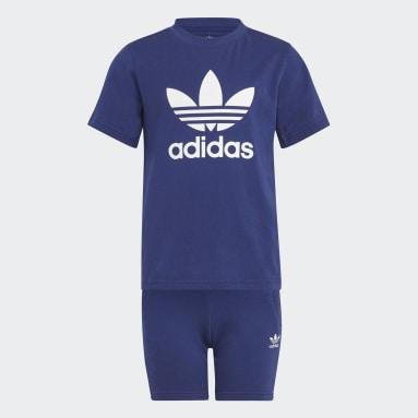 Kids Originals Blue Adicolor Shorts and Tee Set