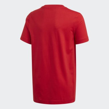 Boys Sportswear Red Essentials 3-Stripes Tee
