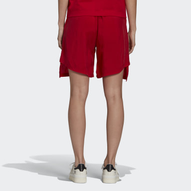Women Y-3 Red Y-3 CH3 Sanded Cupro Shorts
