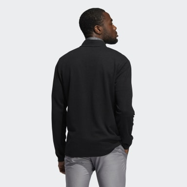 Men Golf Black 3-Stripes Quarter-Zip Pullover